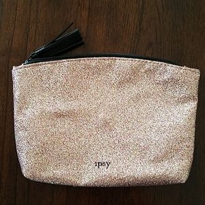 Ipsy Rose Gold metallic cosmetic bag